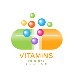 Vitamins logo template original design pharmacy vector