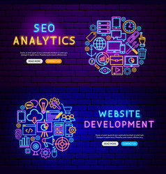 Website development banners vector