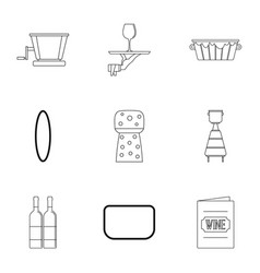 wine restaurant icon set outline style vector image