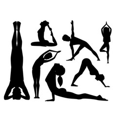 yoga positions characters class black silhouette vector image
