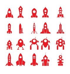 20 rockets silhouettes vector