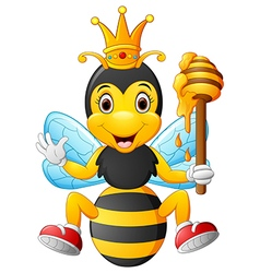 Cartoon bee holding honey vector image vector image