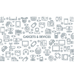 gadget thin line banner vector image vector image