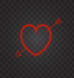 Neon heart with an arrow on a transparent vector image