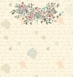 Retro letter background with flowers and text vector image vector image