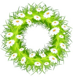round wreath of flowers green leaves on white back vector image vector image