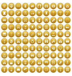 100 mirror icons set gold vector
