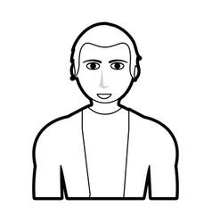 black silhouette cartoon half body guy with vector image