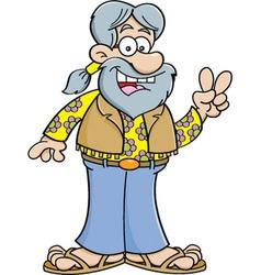 Cartoon Old Hippie vector image