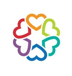 Circle of love hearts logo vector image