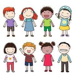 Collection of happy children vector image vector image