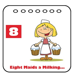 Eight maids a milking vector image vector image