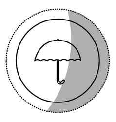silhouette emblem sticker umbrella icon vector image
