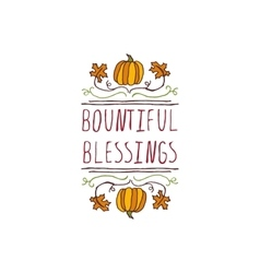 Thanksgiving label with text on white background vector image vector image
