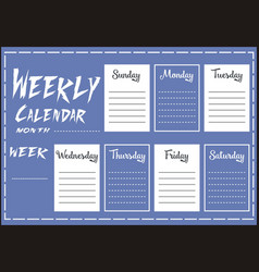 weekly calendar report vector image vector image