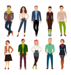 cartoon young fashion people vector image vector image