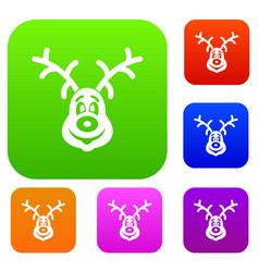 christmas deer set collection vector image