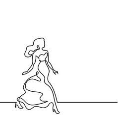 continuous line drawing of dancing woman vector image