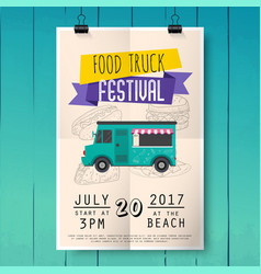 food truck festival poster on wood texture vector image vector image