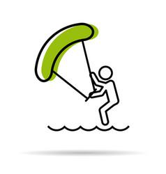 line icon - kitesurfing vector image