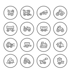 set round line icons of agricultural machinery vector image vector image