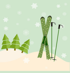 skis stick out of snow before a spruce invitation vector image vector image