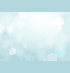 abstract bokeh hexagonal on soft blue background vector image vector image