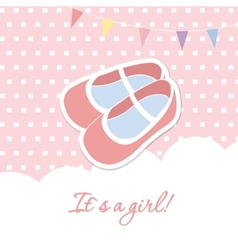 Baby girl shower card with small boots on seamless vector image