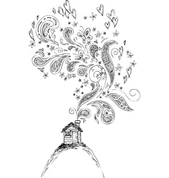 House with doodle smoke vector image vector image