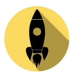 rocket sign flat black icon vector image