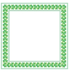 St Patricks Day square frame with shamrock on vector image