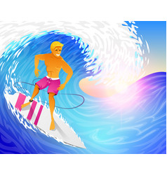 surfer riding on blue ocean wave with surfboard vector image