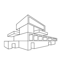 2D perspective drawing of a house vector
