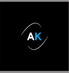 A k letter logo abstract design on black color vector