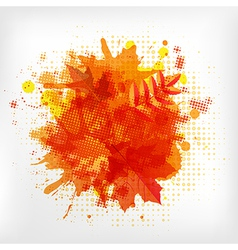 Abstract Orange With Blobs Autumn Leafs vector image