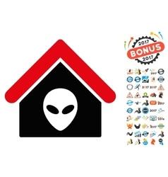 Alien Home Icon with 2017 Year Bonus Pictograms vector