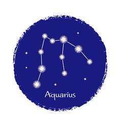 Aquarius zodiac constellation sign on dark vector