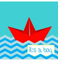 Baboy shower card with red paper boat vector