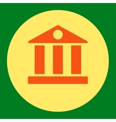 Bank flat orange and yellow colors round button vector