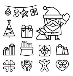 basic christmas icons in thin line style vector image