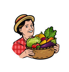 beautiful woman with a basket fresh vegetables vector image