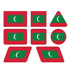 buttons with flag of Maldives vector image