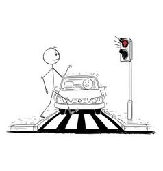 Cartoon man walking on crosswalk while red vector