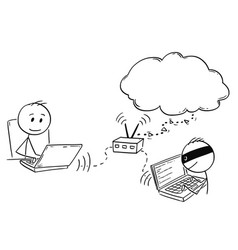 Cartoon of man or businessman working on computer vector