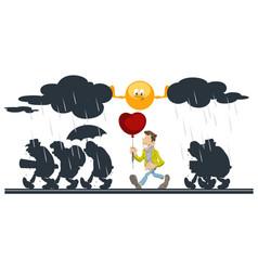 cartoon sun helping happy man with balloon people vector image
