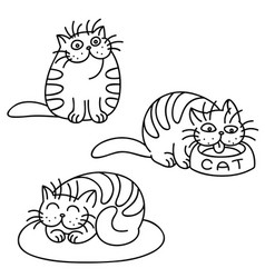 cat emoticons set isolated vector image