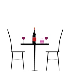 chair and table with wine vector image