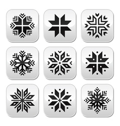 Christmas winter snowflakes buttons set vector