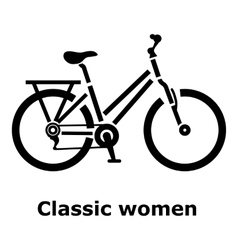 Classic women bike icon simple style vector image