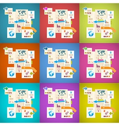 Colorful Infographics Paper Layout Set vector image vector image